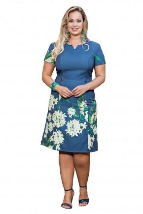 vestido azul estampa floral plus size kauly viaevangelica frente