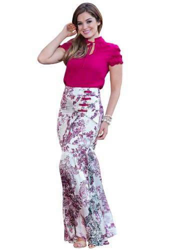 conjunto saia longa floral ilhos blusa gola alta pink detalhe amarracao kauly viaevangelica frente