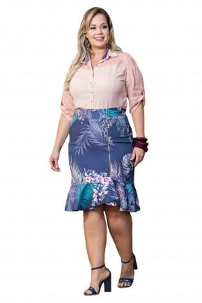 conjunto com saia assimetrica babado plus size kauly viaevangeica frente