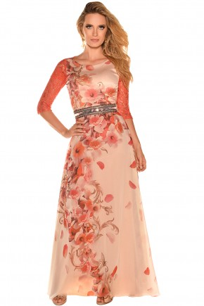 vestido longo coral estampa floral manga renda bordado predrarias fascinius viaevangelica frente