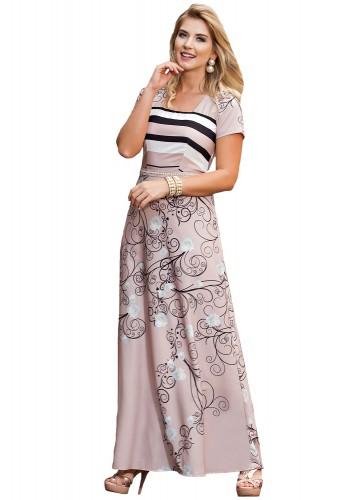 vestido longo rose listras estampa floral kauly viaevangelica frente