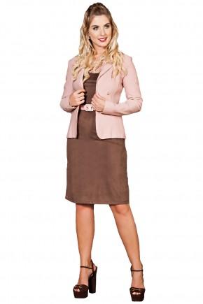 vestido tubinho marrom suede cinto rosa kauly viaevangelica frente
