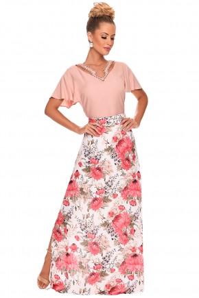 conjunto saia longa estampa floral blusa rose manga soltinha decote v bordado detalhe vazado zunna ribeiro viaevangelica frente