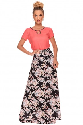 conjunto saia longa preta estampa floral blusa salmao manga curta bordada predrarias zunna ribeiro viaevangelica frente