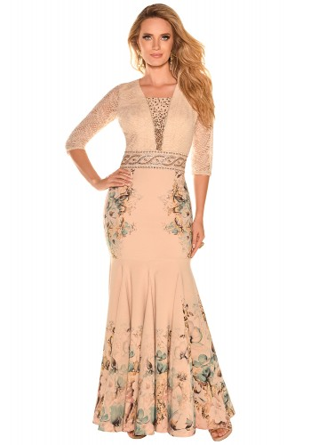 vestido longo nude moda festa sereia estampa floral renda bordado fascinius viaevangelica frente