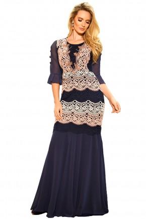vestido longo azul manga sino renda rosa bordado fascinius viaevangelica frente