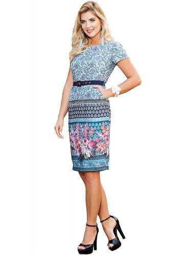 vestido azul mix de estampas com cinto manga curta kauly viaevangelica frente