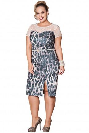 vestido plus size midi fenda estampa onca veludo mangas renda kauly viaevangelica frente