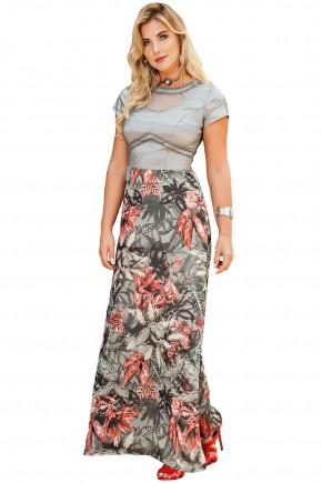 vestido longo estampa floral bordado manga curta kauly viaevangelica frente