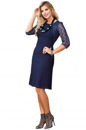 vestido tubinho azul escuro manga renda kauly viaevangelica frente