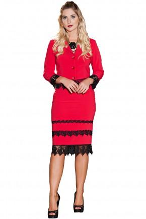conjunto vermelho e preto social guipir manga longa saia reta kauly viaevangelica frente