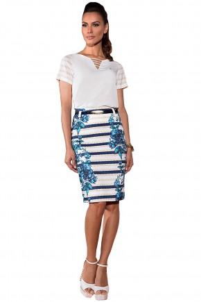 conjunto blusa branca manga curta gola v tiras saia reta branca estampa correntes e floral azul via tolentino via evangelica frente