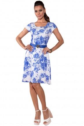 vestido branco estampa floral azul manga curta com cinto via tolentino viaevangelica frente