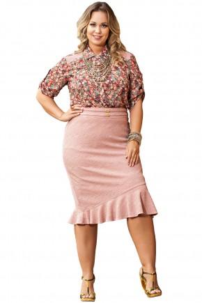 conjunto plus size camisa estampa floral saia rosa barra babados kauly viaevangelica frente
