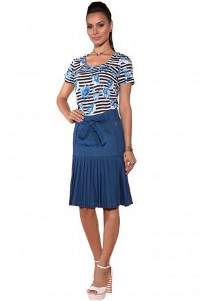 blusa preta e branca listras estampa floral azul manga curta saia jeans amarracao sino barra pregas via tolentino viaevangelica frente
