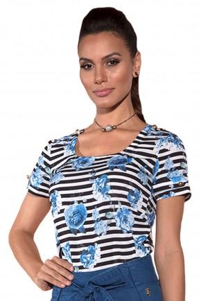 blusa preta e branca listras estampa floral azul manga curta saia jeans amarracao sino barra pregas via tolentino viaevangelica frente detalhe