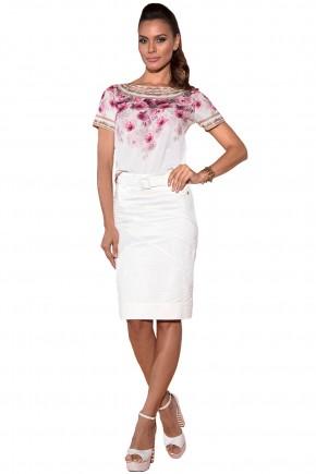 blusa off white estampa floral rosa manga curta saia off white com cinto via tolentino viaevangelica frente