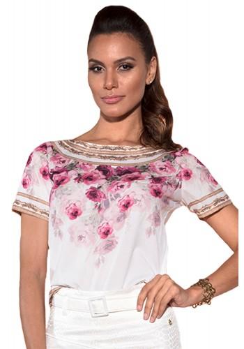 blusa off white estampa floral rosa manga curta saia off white com cinto via tolentino viaevangelica frente detalhe