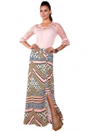conjunto blusa rosa manga renda saia longa estampa etnica fenda lateral via tolentino viaevangelica frente