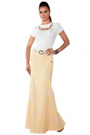 blusa desenho folhagem relevo decote personalizado manga curta saia longo listras amarela e branca com cinto via tolentino viaevangelica frente