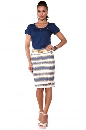 conjunto blusa jeans manga curta botoes saia estampada arabescos azul com cinto via tolentino viaevangelica frente