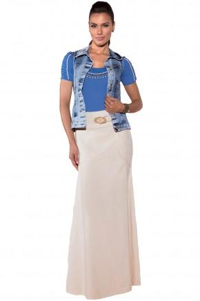 colete jeans blusa azul drapeados bordada manga curta saia longa off white com cinto via tolentino viaevangelica frente