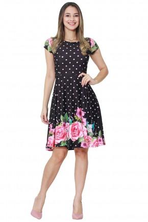 vestido gode preto poa estampa floral rosa manga curta tata martello viaevangelica frente