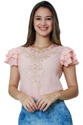 blusa manga curta babados rosa bordado guipir perolas tata martello viaevangelica frente