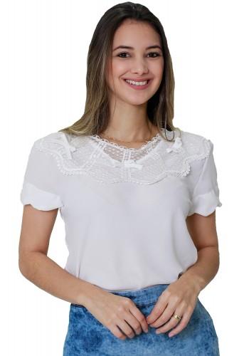 blusa off white manga curta gola guipir tule lacos tata martello viaevangelica frente
