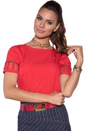 blusa vermelha manga curta entremeios bordada decote canoa via tolentino viaevangelica frente detalhe