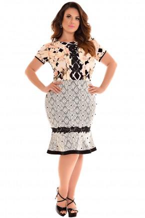 conjunto plus size blusa estampa floral babados manga curta guipir perolas saia sino preta e branca renda fascinius viaevangelica frente