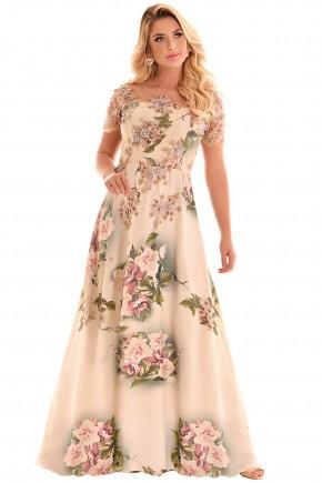 vestido longo bege estampa floral evase manga curta renda e tule bordado fascinius viaevangelica frente