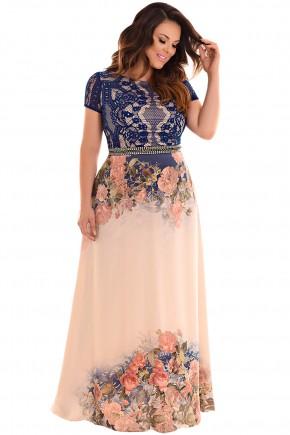 vestido longo plus size busto azul rendado manga curta pedrarias cintura saia nude estampa localizada floral fascinius viaevangelica frente