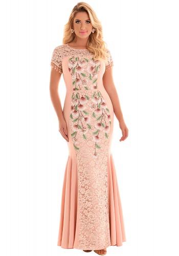 vestido longo rose rendado floral pregas sereia manga curta com pingentes fascinius viaevangelica frente