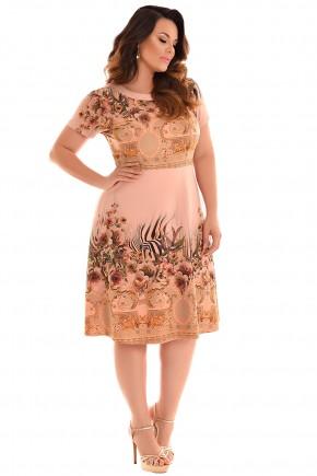 vestido plus size manga curta evase estampa floral e scarf print decote vazado fascinius viaevangelica frente