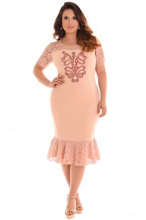 vestido plus size sino midi rose rendado manga curta bordado fascinius viaevangelica frente