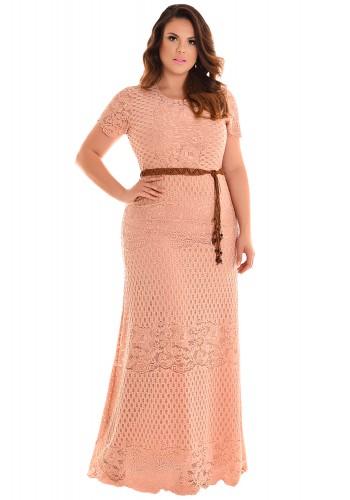 vestido longo plus size renda e croche rose com cinto fascinius viaevangelica frente