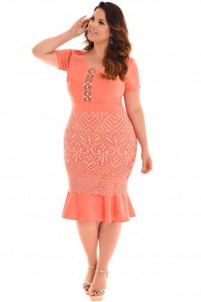 vestido plus size manga curta sino laranja guipir bordado pedrarias fascinius viaevangelica frente