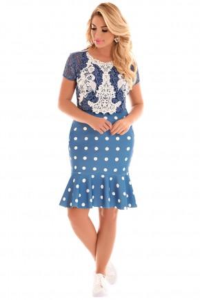 conjunto blusa azul e branca renda saia sino azul claro poa branco fascinius viaevangelica frente