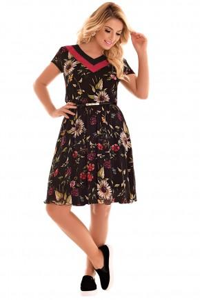 vestido evase preto e bordo decote v duas cores manga curta estampa floral com cinto fascinius viaevangelica frente