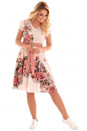 vestido evase off white estampa floral manga curta gola v cinto rose com pedraria fascinius viaevangelica frente