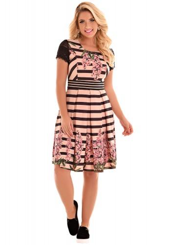 vestido evase pregas rose e preto listras estampa floral manga curta renda fascinius viaevangelica frente