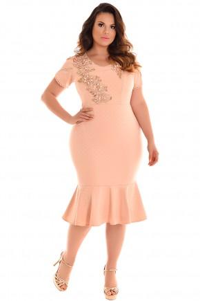 vestido plus size sino rose manga curta bordado pedrarias flores fascinius viaevangelica frente