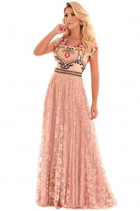vestido longo evase renda e tule manga curta rose com cinto pedrarias fascinius viaevangelica frente