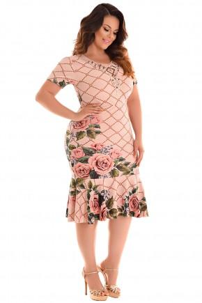 vestido plus size sino rose estampa floral e scarf print manga curta decote bordado fascinius viaevangelica frente
