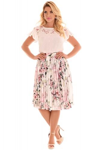 conjunto blusa off white manga curta bordada saia evase plissada off white estampa floral midi fascinius viaevangelica frente
