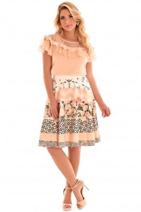 conjunto gode rose mix de estampas blusa babados fascinius viaevangelica frente
