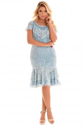 vestido azul sino babados renda bordado fascinius viaevangelica frente