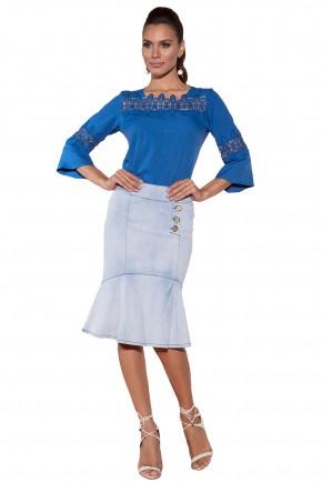 blusa azul royal gola tule guipir manga entremeio via tolentino viaevangelica frente