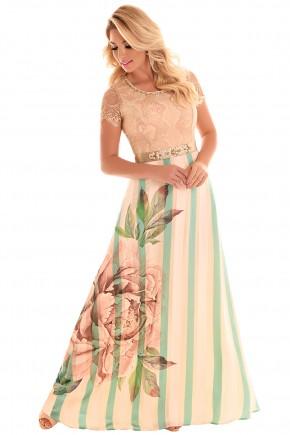 vestido longo bege e verde estampa floral renda fascinius viaevangelica frente